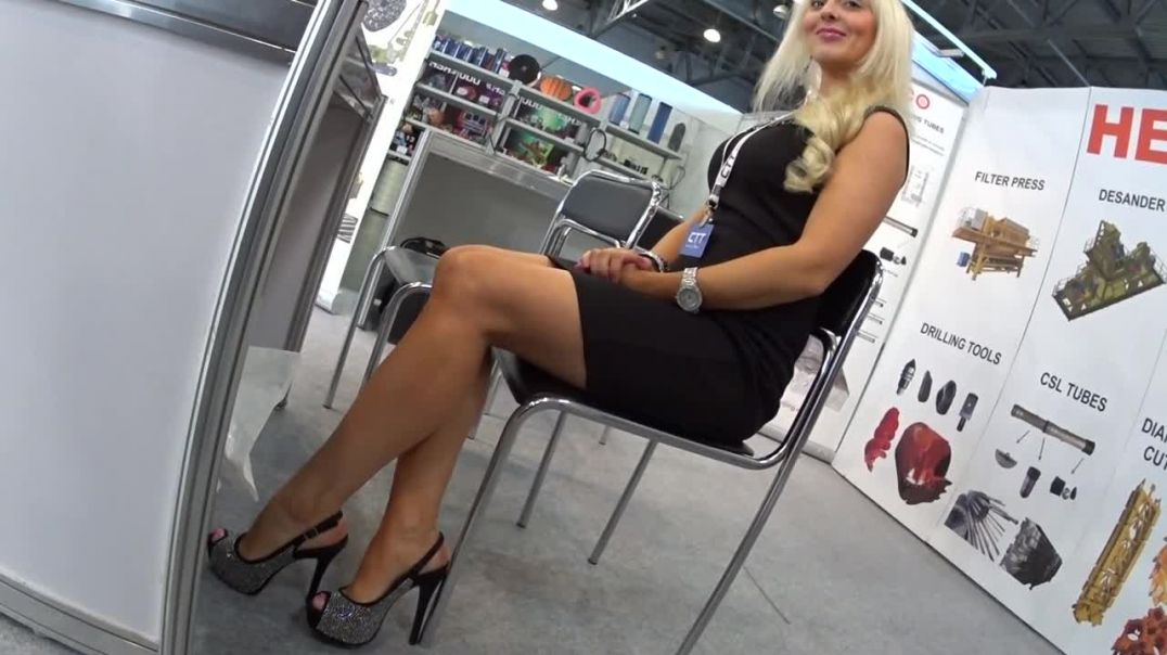 Ania  - Russian Hostess getting ready for the Trade Fair