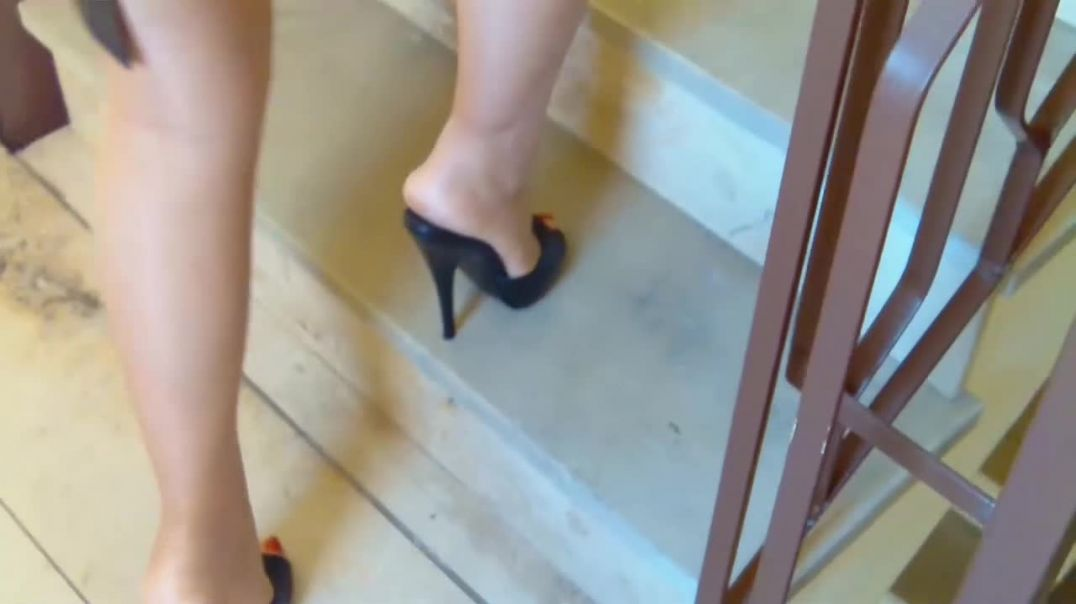 Pleaser Mules (14cm) on stairs