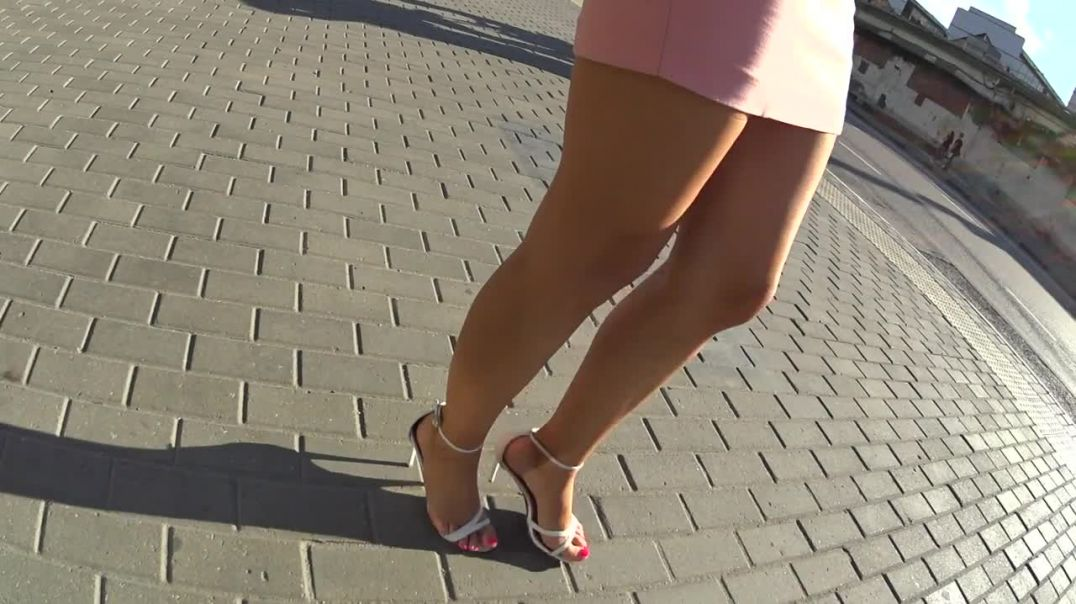Sexy Russian Girl in Strappy Highheels and Rednails