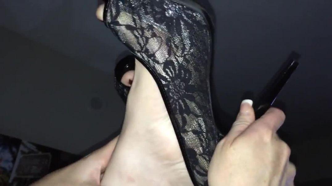Black Lace Peeptoe Heels