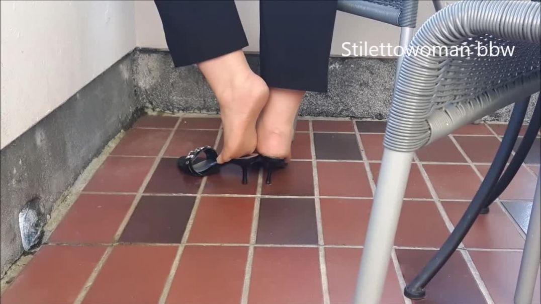 black flat Mules with tan Nylons, Stilettowoman bbw