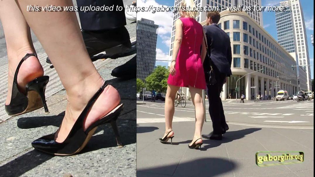 Gaborgirlstube Street Candid  - Blonde Secretary dressed sexy in Slingback HighHeels