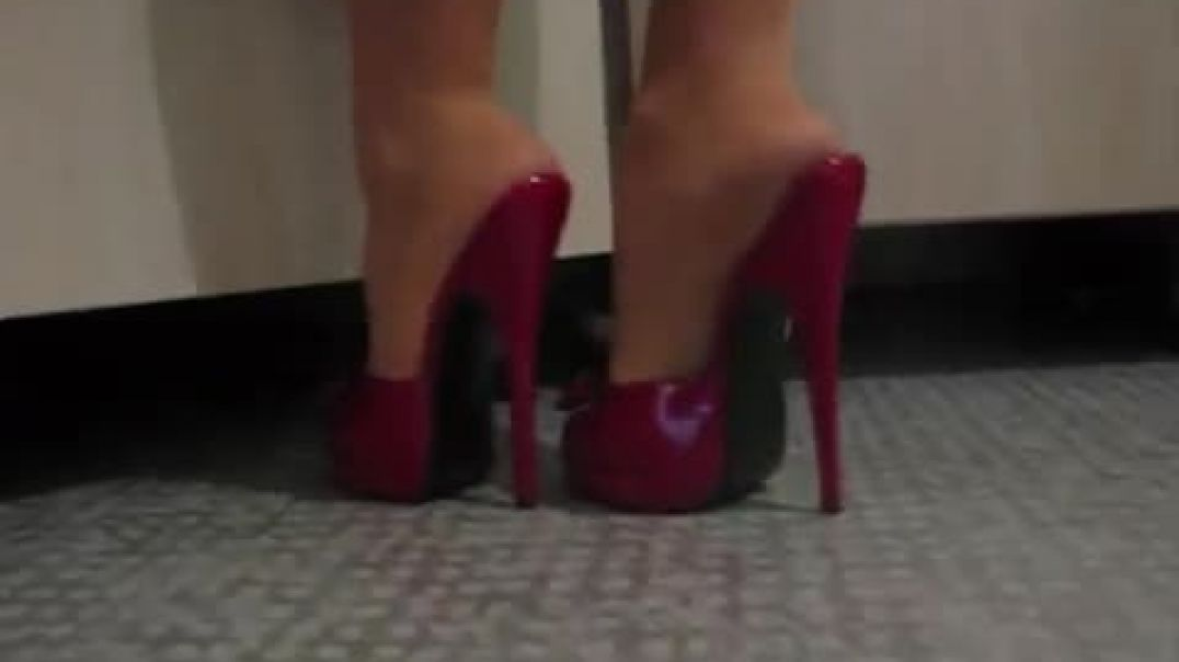 Sexy Red Mules ln the Kitchen