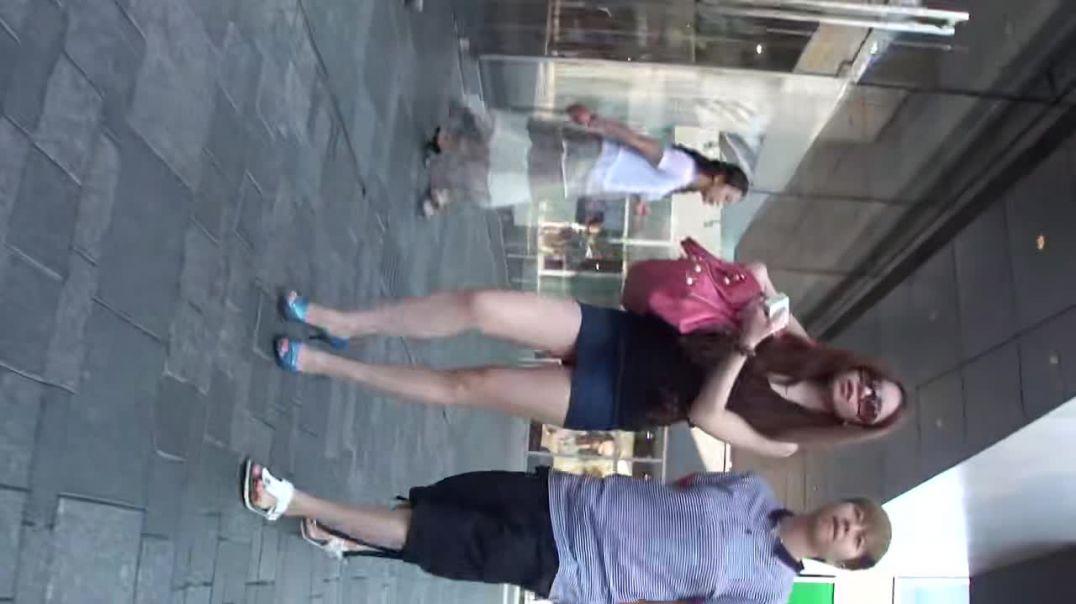 Street Candid - Chinese Girl in Peeptoe Highheels
