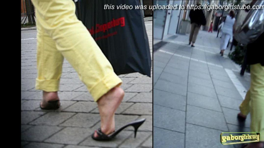 Gaborgirlstube Street Candid  - Slutty MILF in Metalheeled Mules - Full video