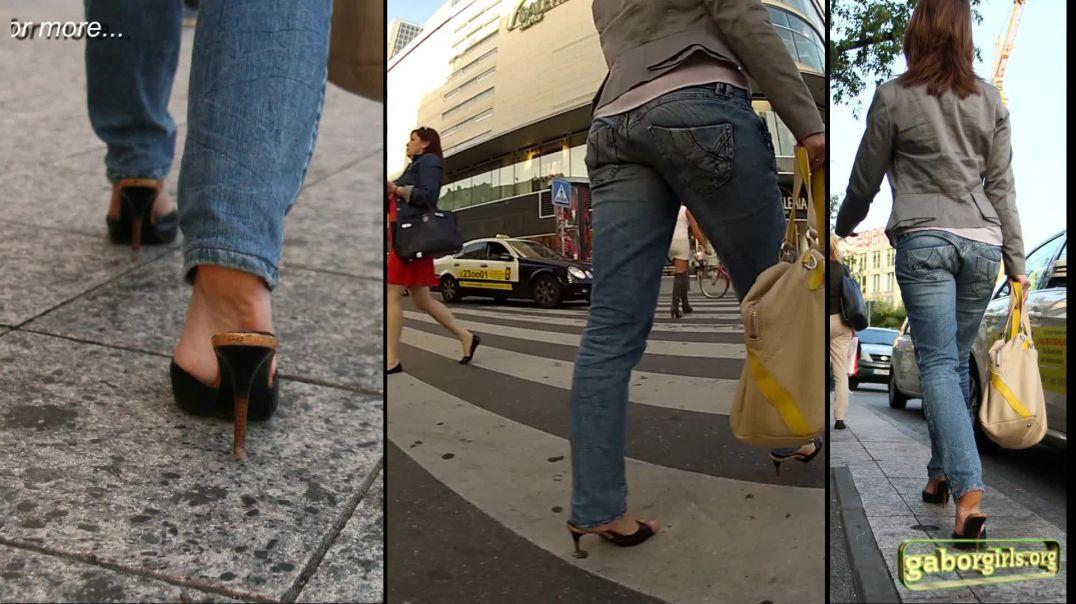 Gaborgirlstube Street Candid  - Russian Girl Shopping in Mules - Trailer