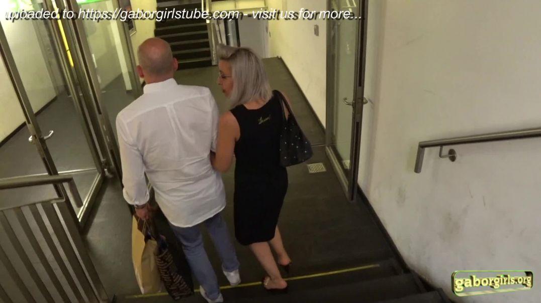 Gaborgirlstube Street Candid  - Sexy Platinum Blonde in Clear High Heels