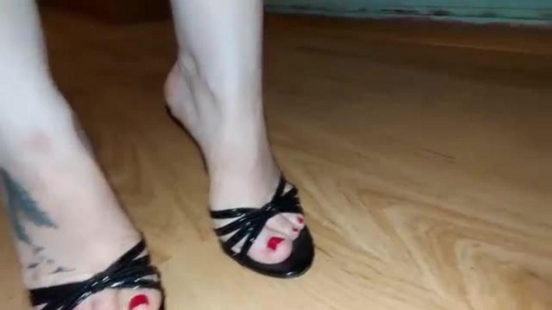 Posing in sexy black Mules - High Heels
