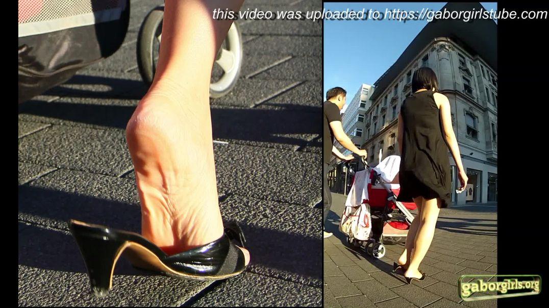 Gaborgirlstube Street Candid  - Sexy Japanese Mom in Kittenheeled Mules - Trailer