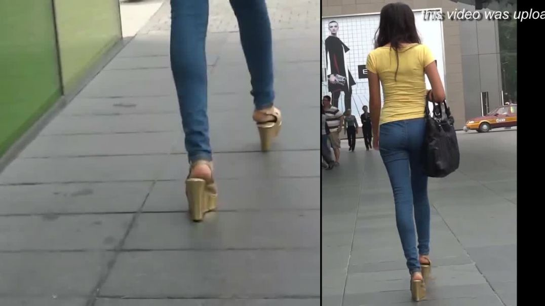 Street Candid - Sexy Asian Girl in Gold Wedges High heels