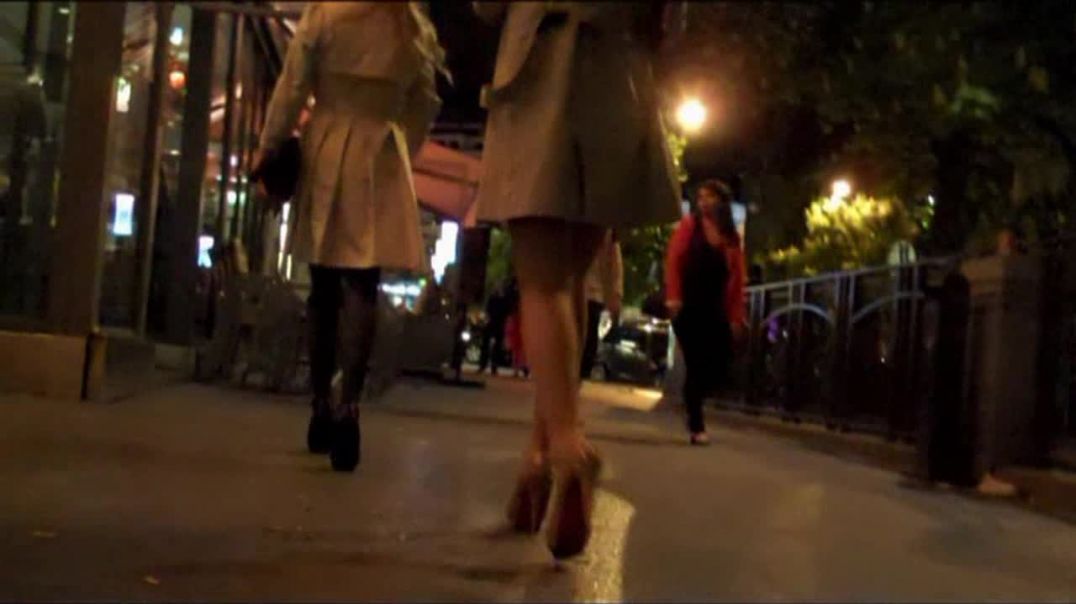 Pretty Blonde in mini skirt and high heels louboutins
