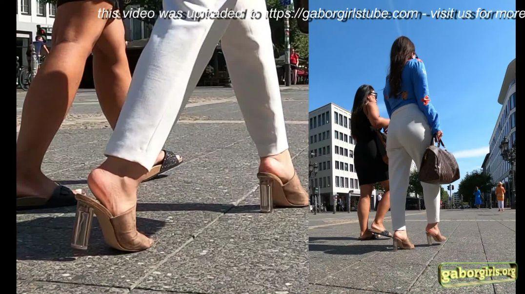 Gaborgirlstube Street Candid  - Cute Girl in ZARA High Heeled Mules