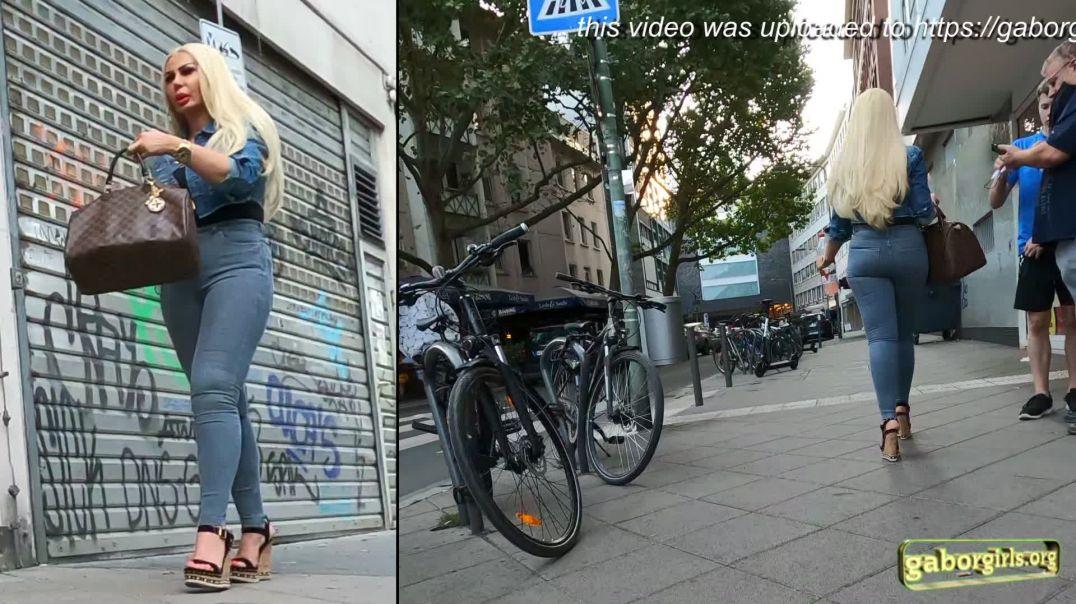 Gaborgirlstube Street Candid  - Barbie Blonde in High heeled Wedges