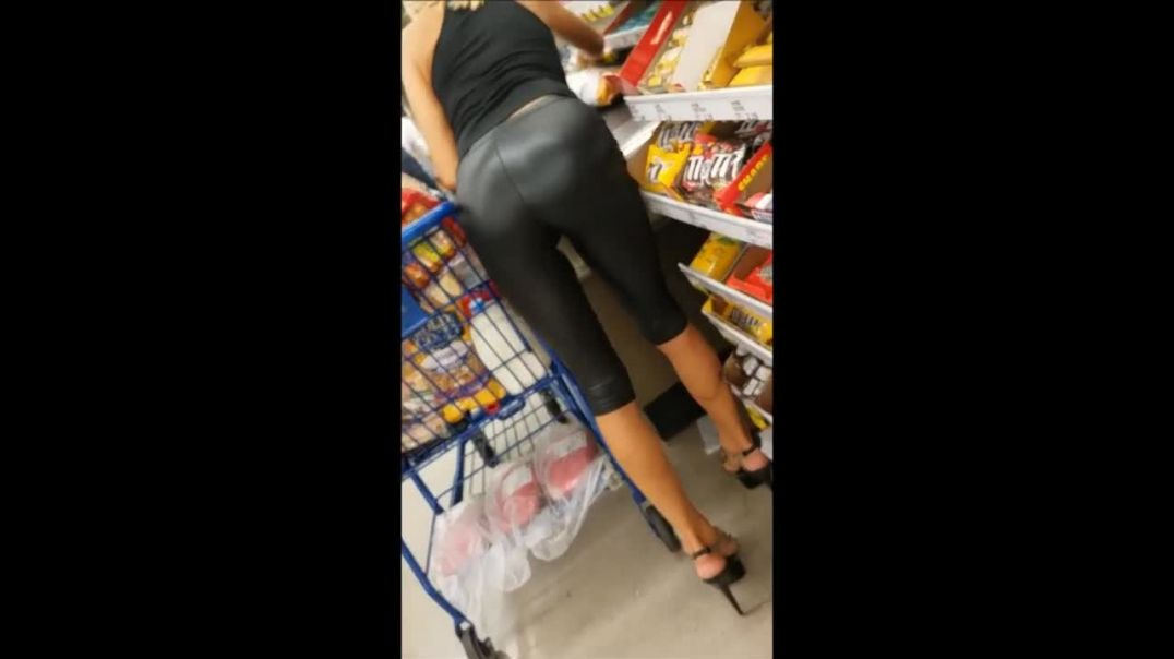 Indoor Candid - MILF in Shiny Leggings and High Heels