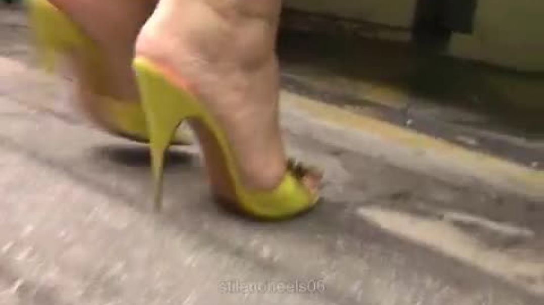 Street Candid  - Sexy Lady in High Heeled Mules by Stilettoheels06