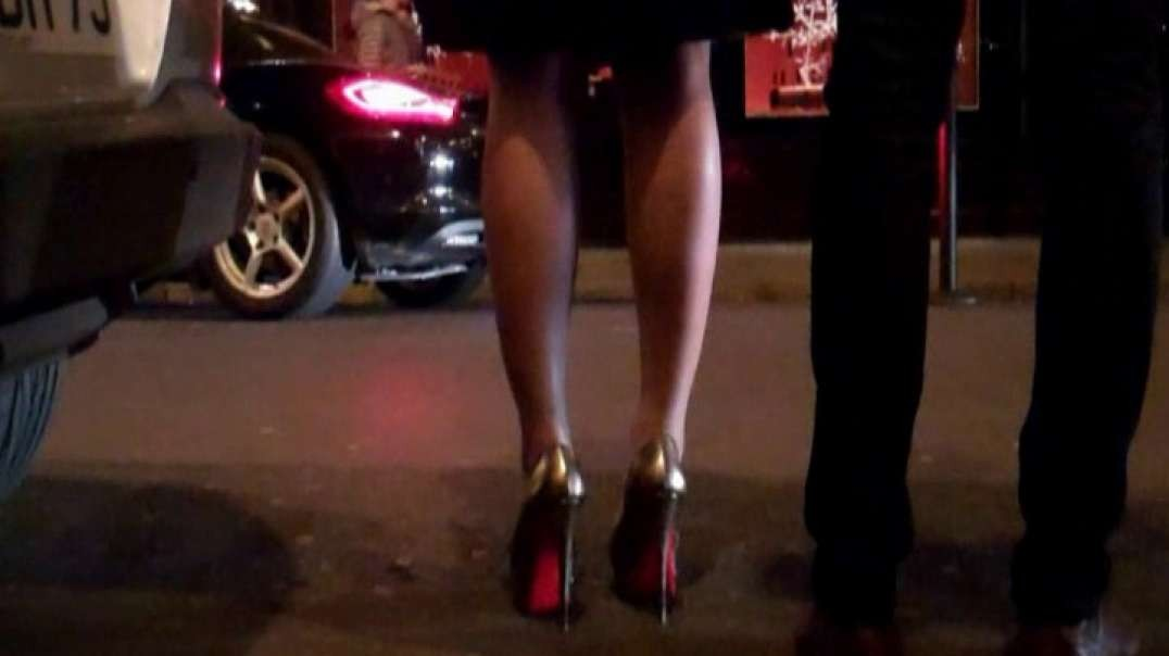 Pretty Brunette with hot high heels louboutins