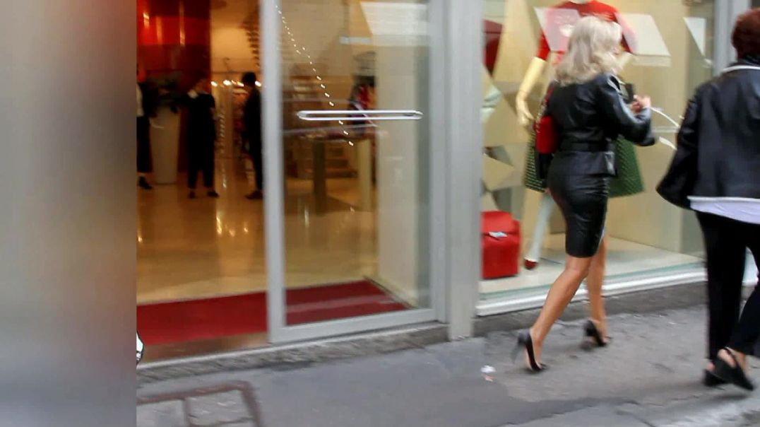 Street Candid  - Hot MILF in Leather Outfit and High Heels by Choolover - Part 2