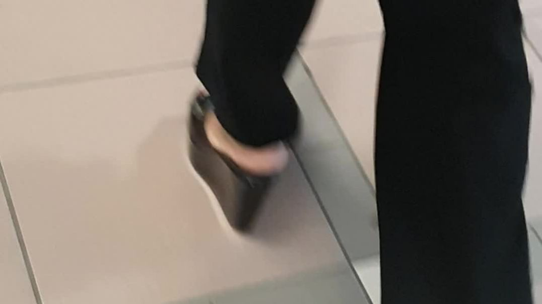 Street Candid - dutch milf wearing her high black wedge mules