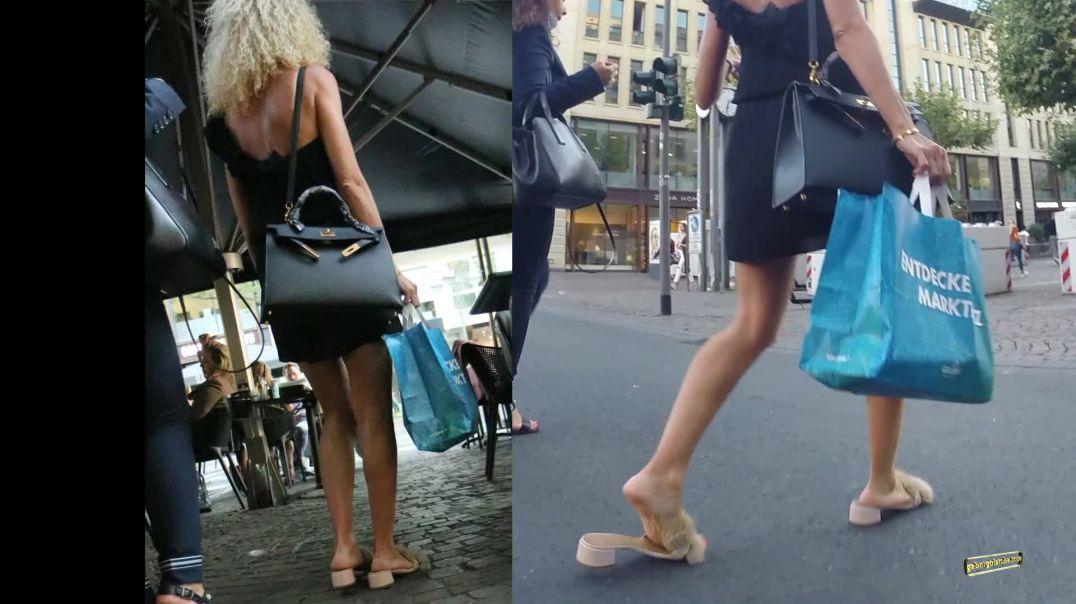 Gaborgirlstube Street Candid  - Sexy Italian Blonde in Fur Mules