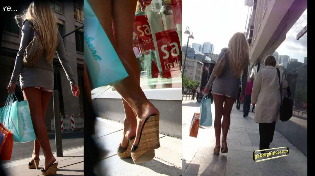 Gaborgirlstube Street Candid  - Sexy Blonde in Wedges