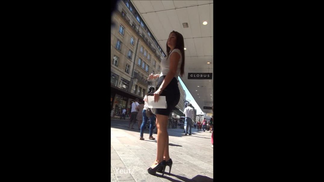 Strreet Candid - HOT Brunette  in tight black skirt and High Heels by Yeutz
