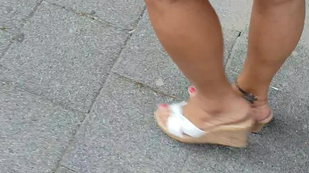 Street Candid  - my wife walk downtown on her white wedge mules