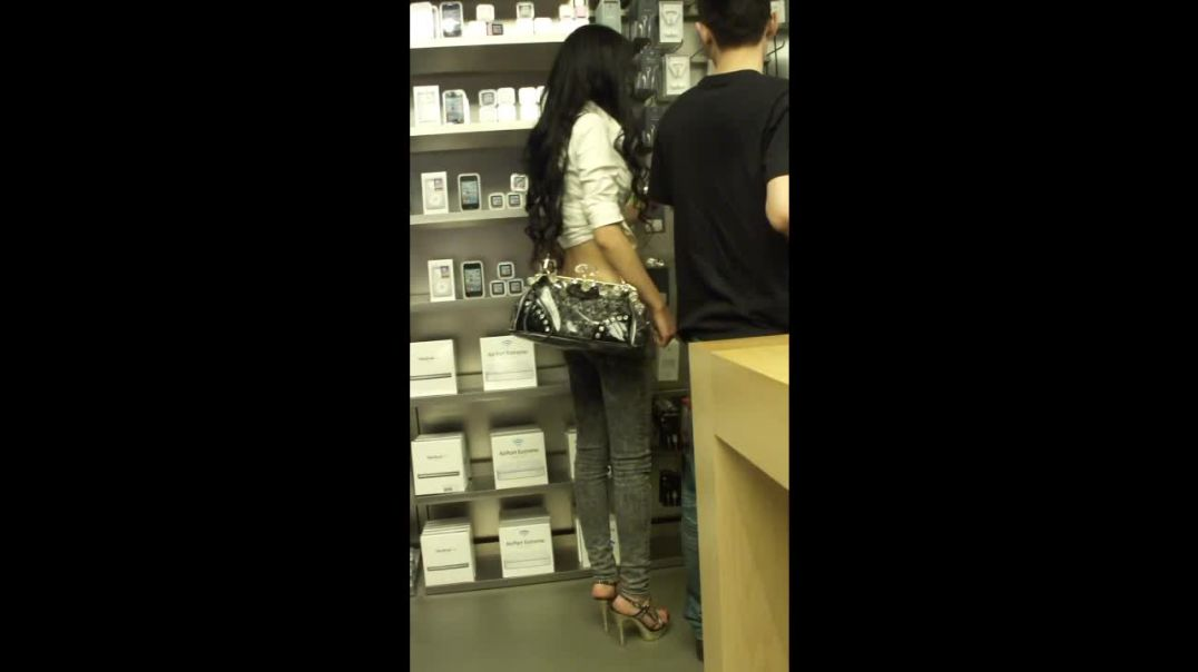 Street Candid - Asian Girl in silver High Heels