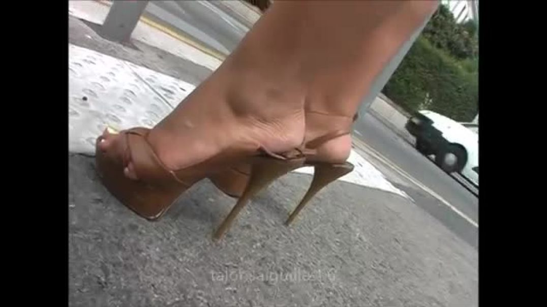 Street Candid - Walking in high heels slingbacks with strap down by Stilettoheels06