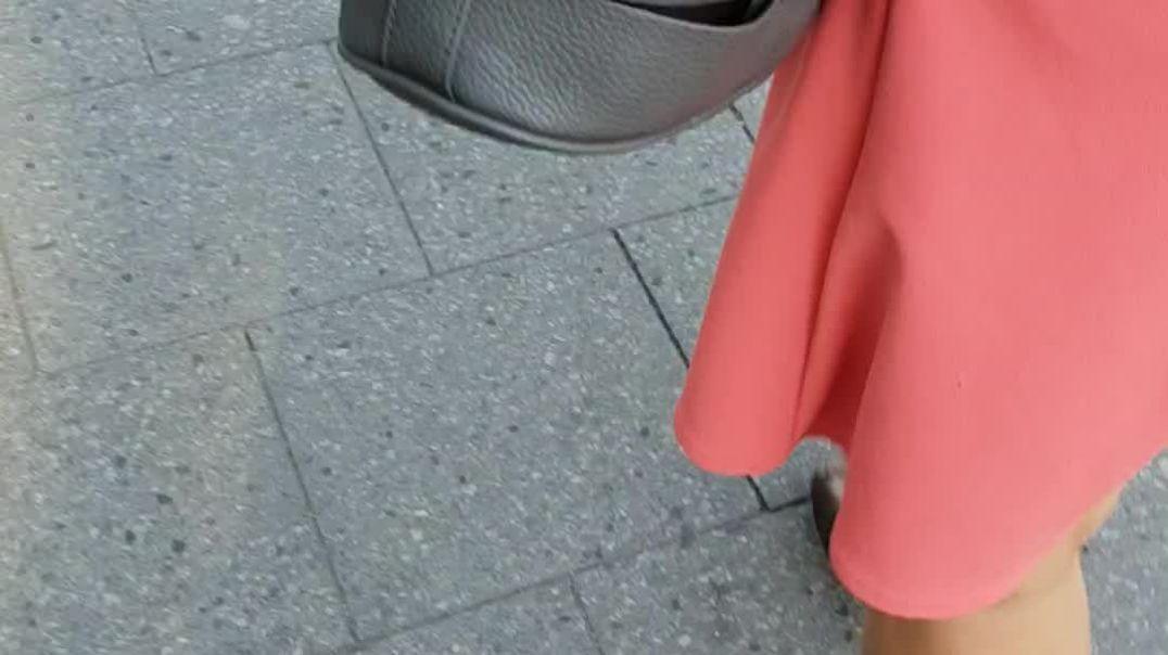 my wife wearing her high heel mules when we shopping