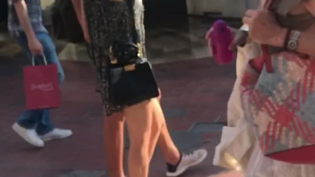 Slow Motion- Candid Hot blond in very sexy High heels