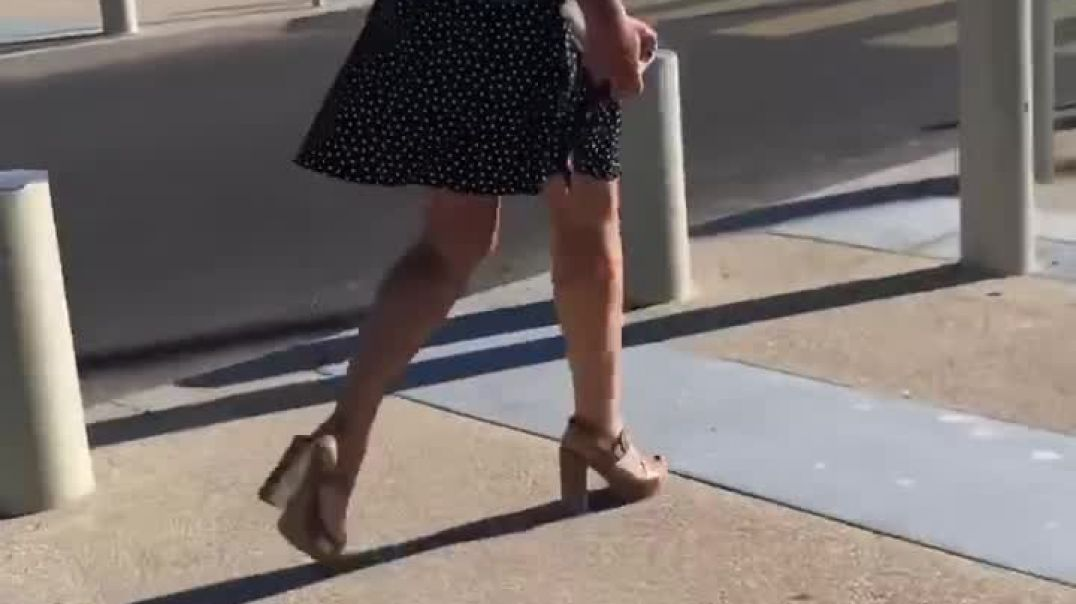 Sexy candid blond milf walking in skirt and Camel Platform Heels