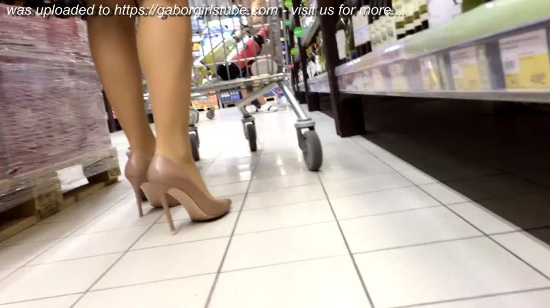 Street Candid - Russian Ladies shopping in High Heels in the Super Market