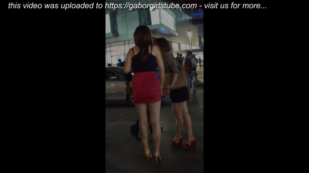 Street Candid  - Asian Duo on a Nightout  - High Heels and Wedges