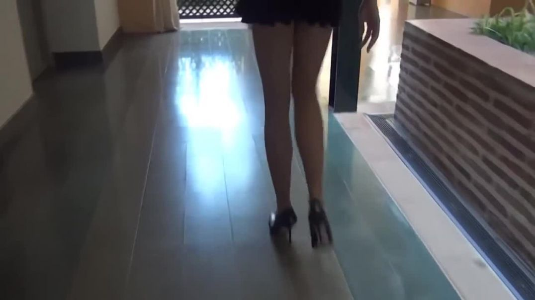 Stiletto high heels walking and nice sound of heels