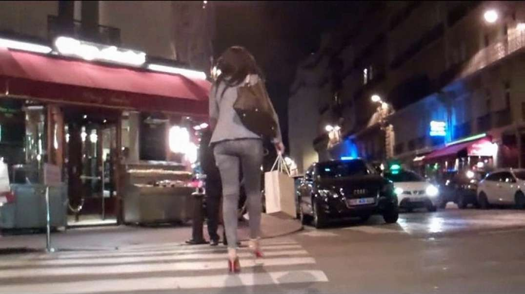 Gorgeous Brunette moves ass in jeans and high heels louboutins