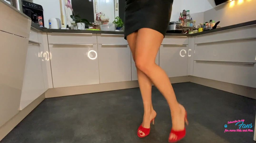 Kitchen ASMR Sounds in red High Heels Mules by Lady Kim