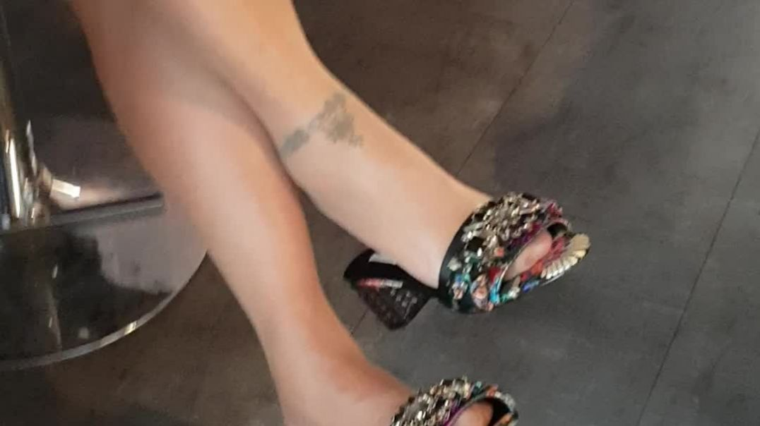 my wife dangling with low heel mules