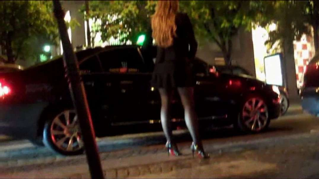 Pretty Blonde in mini skirt pantyhose and high heels louboutins