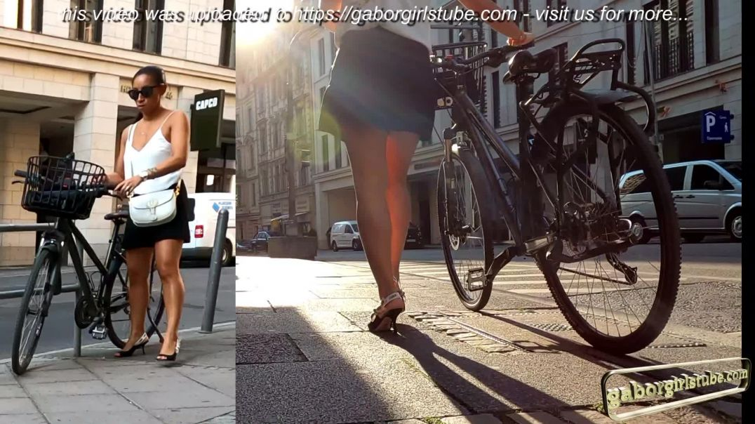 Gaborgirlstube Street Candid  - Sexy Girl in Slingback Highheels and Bike