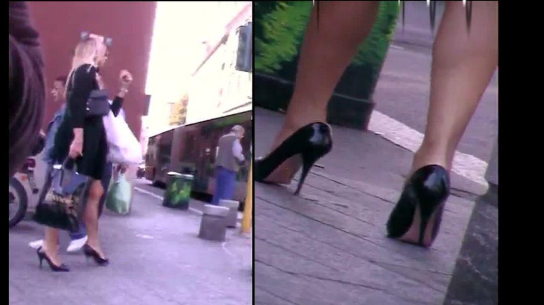 Street Candid - Blonde in Peeptoe Stiletto Heels by Tacchialtissimi