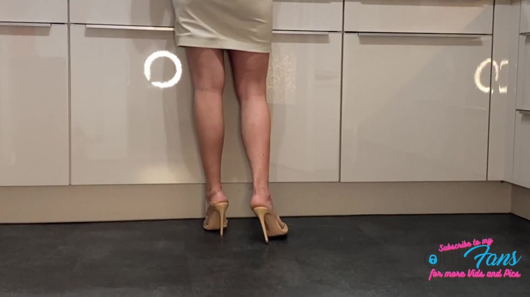 Kitchen Sounds ASMR cooking in Pointy High Heels Mules by Lady Kim