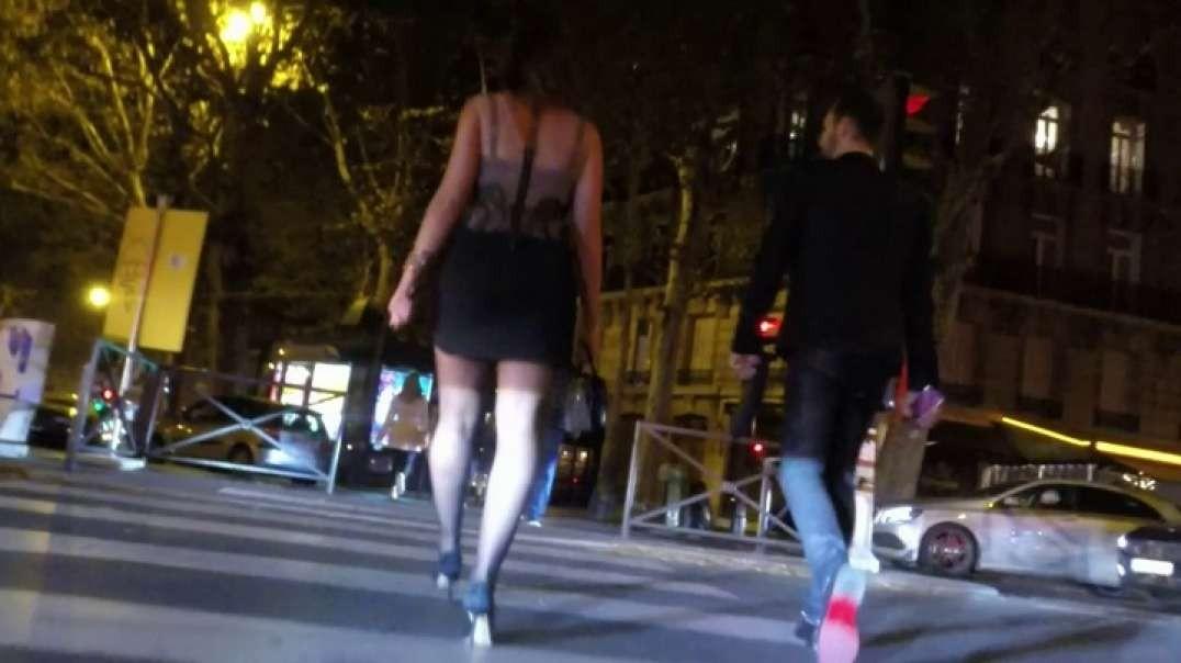 Beauty Brune in mini skirt pantyhose and high heels