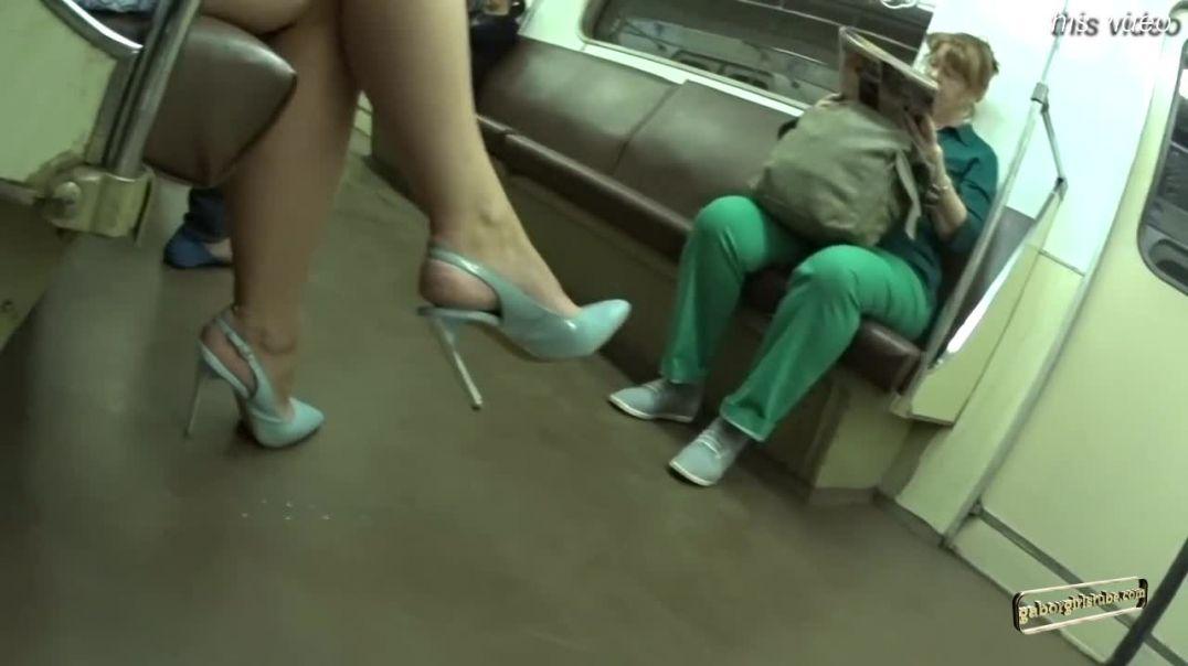 Street Candid -  Russian MILF in Slingback High Heels