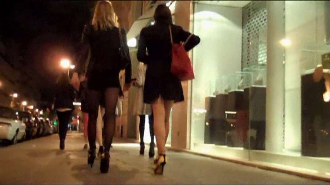 Groups Sluts in mini and micro skirt tights high heels