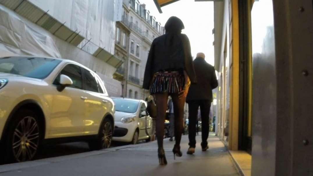 Milf Brunette in pantyhose micro skirt and high heels