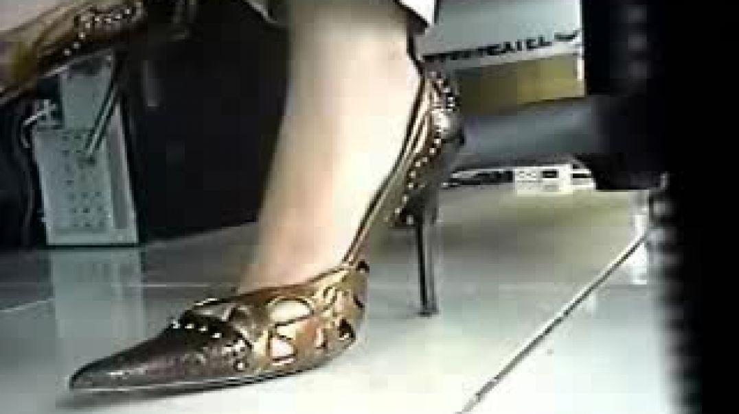 Sexy Real Estate Broker In White Nylons amp; Gold Stileto Heels