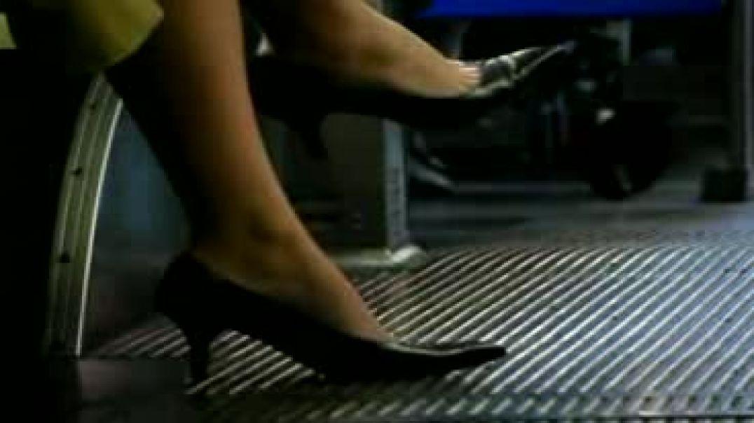 sexy black pumps in bus