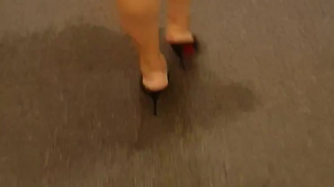 my wife wearing her louboutin mules