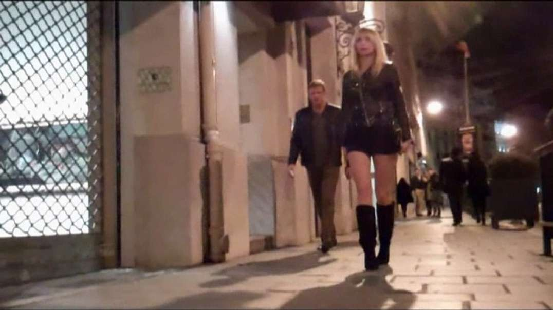 Pretty drunk blonde in micro skirt and boots