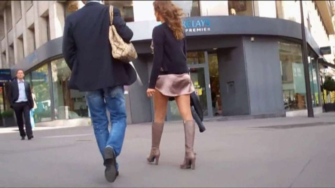 Two Part: Milf in mini dress pantyhose and boots